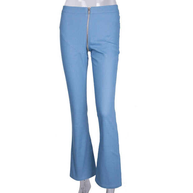 Zipper Stretch Skinny Denim Jeans