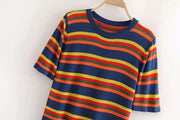 Colorful striped round neck short sleeve ice silk knit t-shirt
