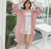 Sun protection clothing female short paragraph 2019 spring and summer new sunscreen jacket hooded thin air conditioning shirt loose striped sunscreen clothing