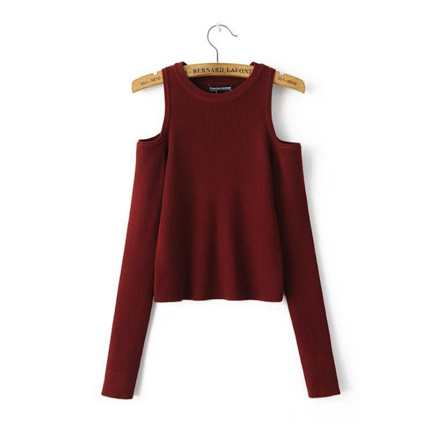 Cold Shoulder Long Sleeve Tight Fitting Sweater
