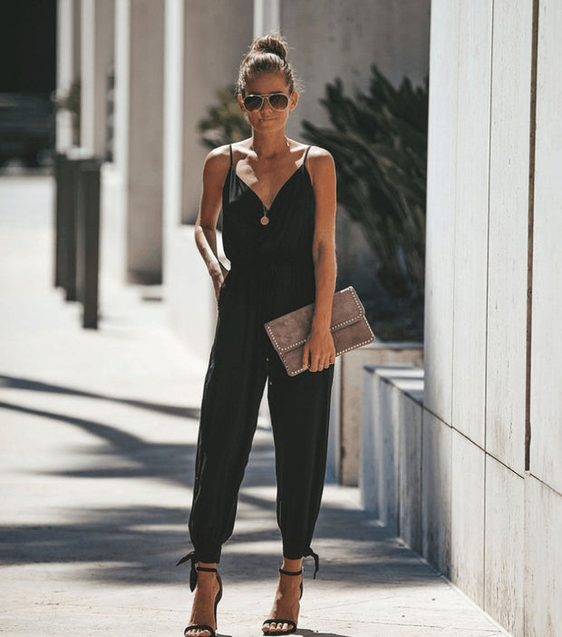Printed sexy backless pocket V-neck Jumpsuit