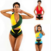 Green, blue and red three-color sexy color matching two-piece swimsuit