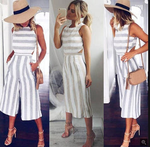 Wide Leg Casual Striped Jumpsuit