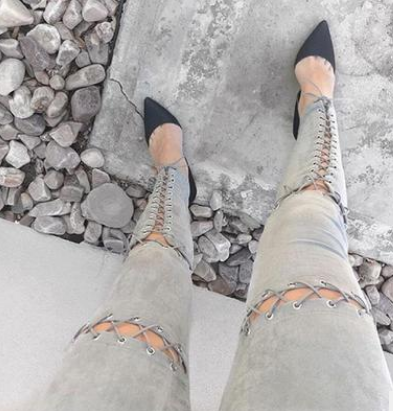Hot Selling Bandage Lace-up Skinny Pants