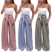 Sexy Striped Wide Thigh Pants