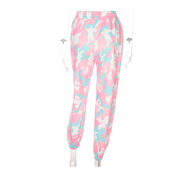 Pink Camouflage Print Loose Stretch Pants