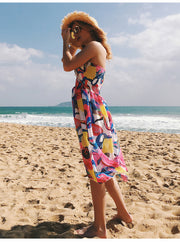 USA SIZE Printed wrap chest sexy halter beach skirt bohemian floral chiffon dress