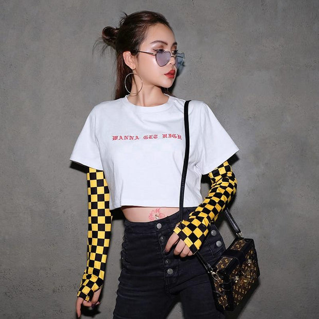 YELLOW CHECKERBOARD LONG SLEEVE TOP