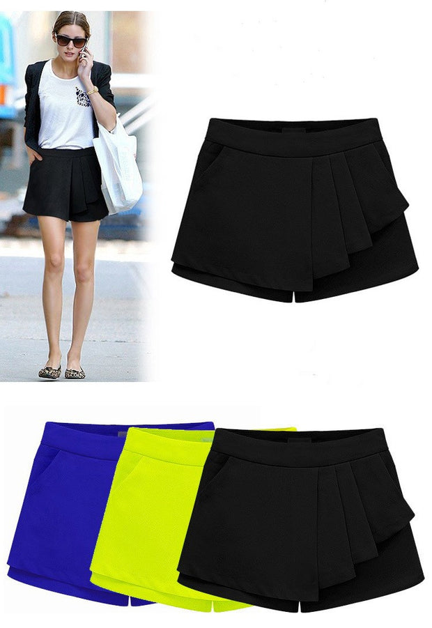 USA SIZE Women's shorts Casual ruffled fake two-piece leggings Wild mid-waist slim skirt