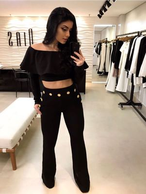 Women's Long Sleeve Ruffle Top + Fashion Button Pants
