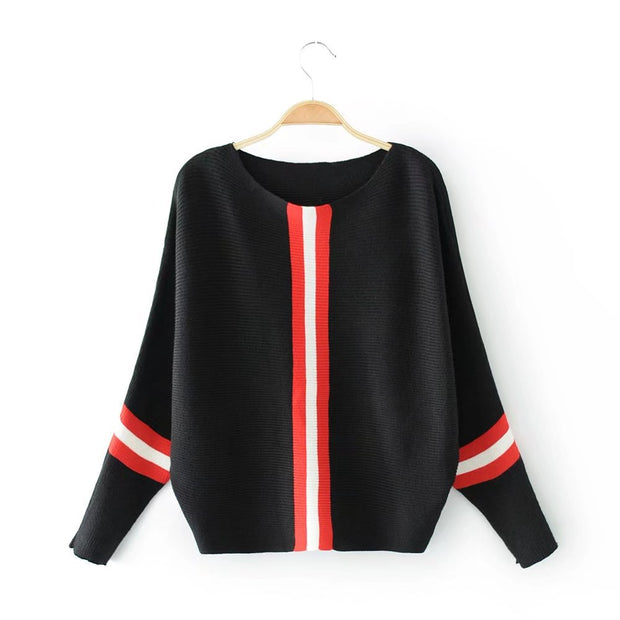 New vertical stripe loose pullover sweater