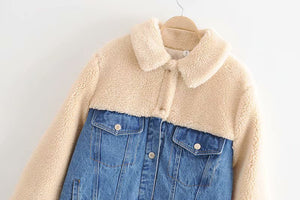 Fashion loose thin lambs denim stitching thick warm coat jacket