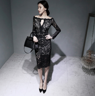 One-shoulder Slim Lady Lace Dress Women's Temperament Slim Midi Skirt