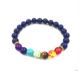 Agate Molten Volcanic Stone Chakra Colorful Bead Bracelet