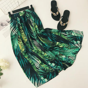 Summer tropical forest  stretch high waist large swing split irregular holiday beach skirt skirt
