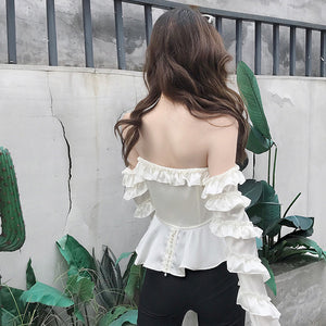 One-neck blouse, off-the-shoulder, wooden ear, ruffled sleeve shirt