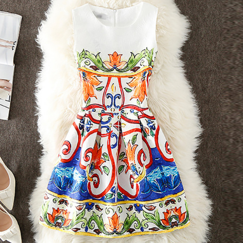 Vintage Stylish Floral Sleeveless Party Dresses