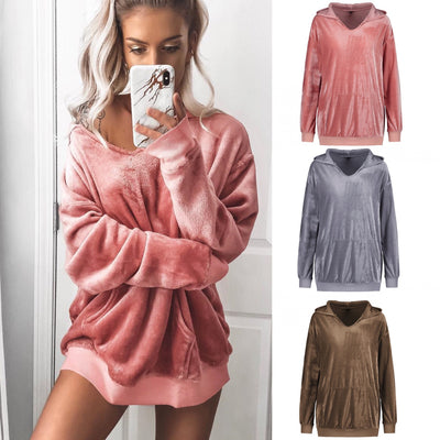 Fleece velvet long sleeve coat sweater hoodie