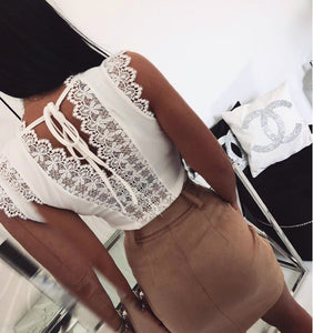 2019ebay AliExpress Wish Amazon Explosion models Lace-up lace deep V-neck sexy tops