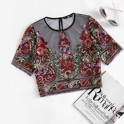 Mesh Embroidery Blouse Applique Sheer  Top