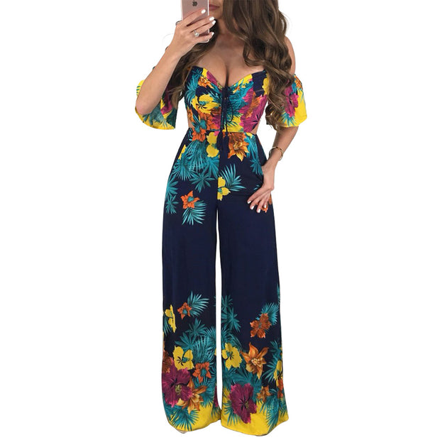 Sexy Women Jumpsuit Women Off Shoulder Self Tie Yellow Jumpsuits 2019 New Ruffle Half Sleeve Elegant Jumpsuit