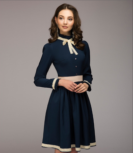 Women simple A-line dress autumn winter O-neck long sleeve knee-length dress Elegnat women casual solid vestidos