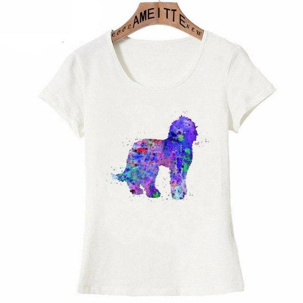 Ladies Labradoodle Dog Watercolor T-Shirt