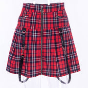 Zip Up Plaid Skinny A-line Skirt