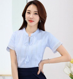 Short-sleeved Cotton Stand Collar Lace Hollow Out Blouse
