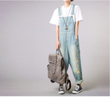2017 large size worn light color strap jeans women casual loose thin denim wide leg pants tide