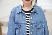 Loose bandage denim jacket short lace-up spring and autumn denim