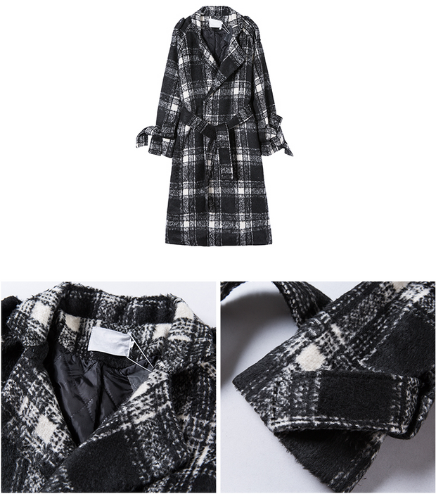 Black and White Plaid Long Woolen Coat