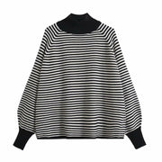 Solid High Collar Loose Raglan Sleeve Sweater