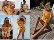 USA SIZE Sexy word collar strapless cross straps cropped sleeves shirt shorts two-piece holiday suit