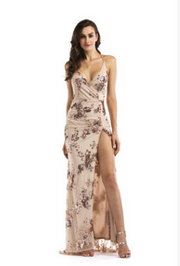 Deep V-neck High Slit Floral Gown