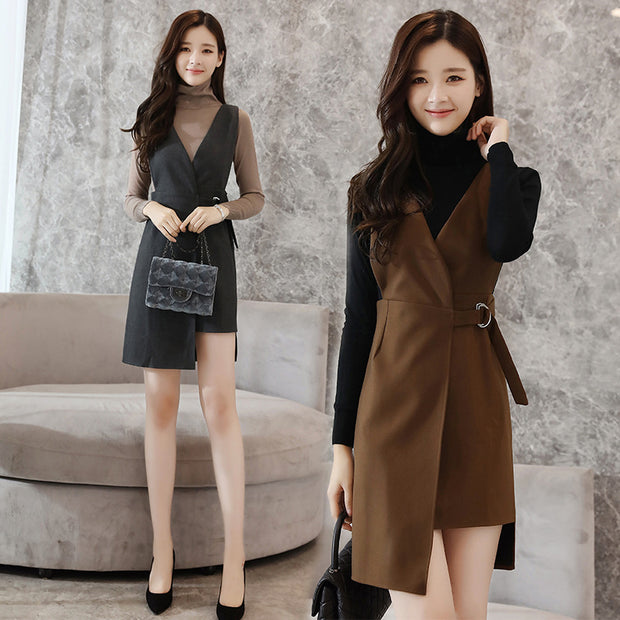 Autumn and winter new suit skirt two-piece knit dress