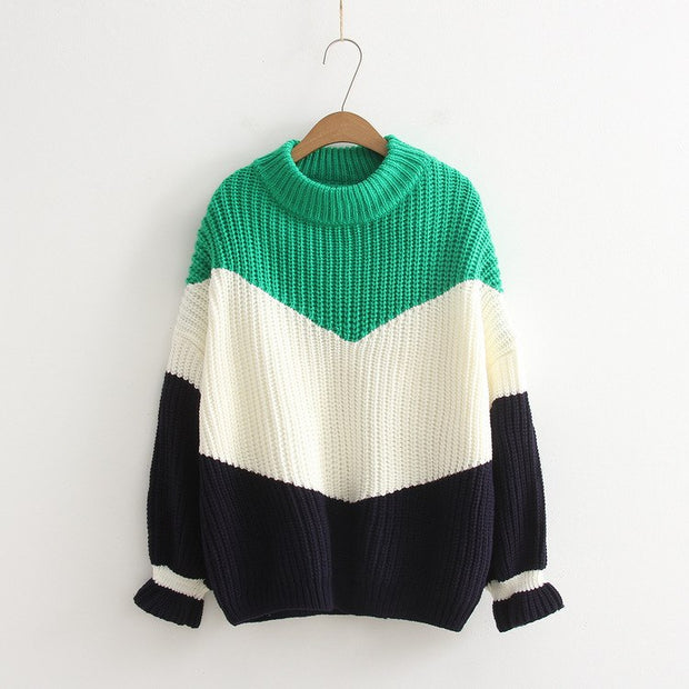 Color Block Thick Stereoscopic Knit Sweater