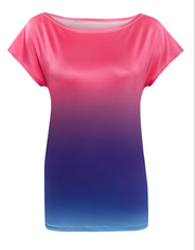 A women''s wear T-shirt, 2018eBay express, new gradient color casual printed summer sleeves.