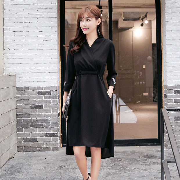 Long Sleeve High Waist Wrap Dress With Irregular Hem