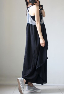 New fashion loose dress ruffled strap big swing skirt denim chiffon dress