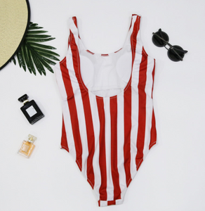 Digital Print Striped One-piece Swimsuit