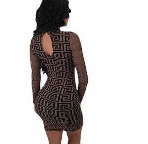 Printed Long Sleeve Hollow Mesh Party Dress