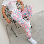 NCLAGEN 2018 New Women Pink Camouflage Print Trousers Loose Harem Camo Pants Spring High Waist Casual Joggers Elastic Sweatpants
