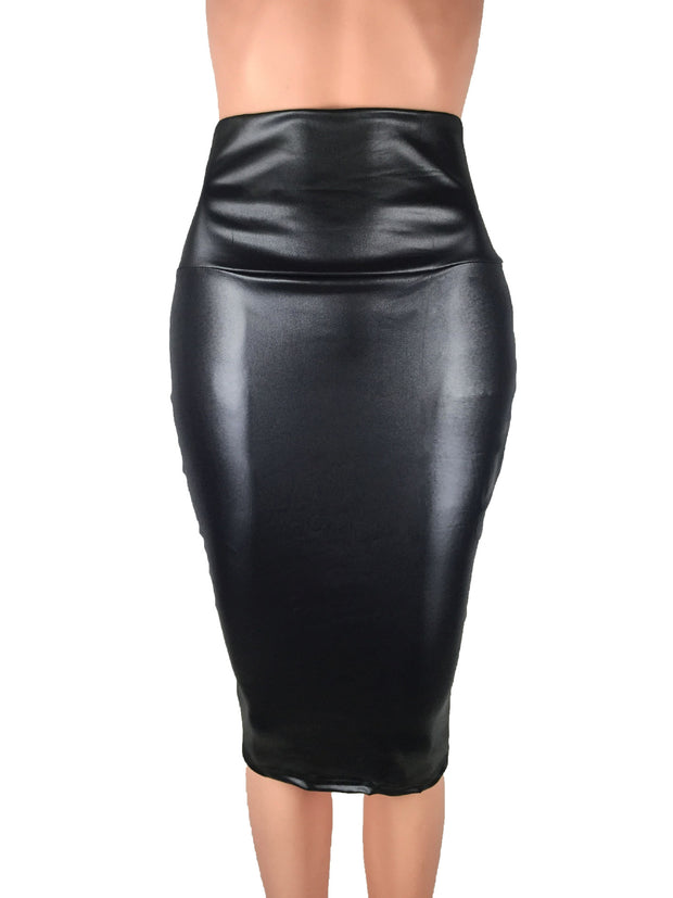 Women High Waist Faux Leather Skirt