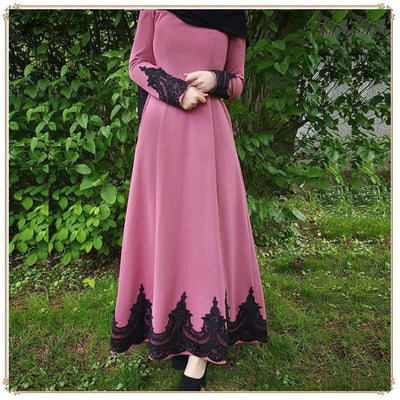 Women Fashion Long sleeve Neck High Waist muslim Lace Patchwork Ankle Length Elegant Ladies casual dresses
