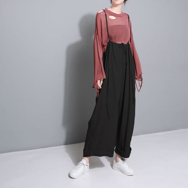 Literary Comfy Cotton and Linen Wide Leg Pants With Adjustable Straps