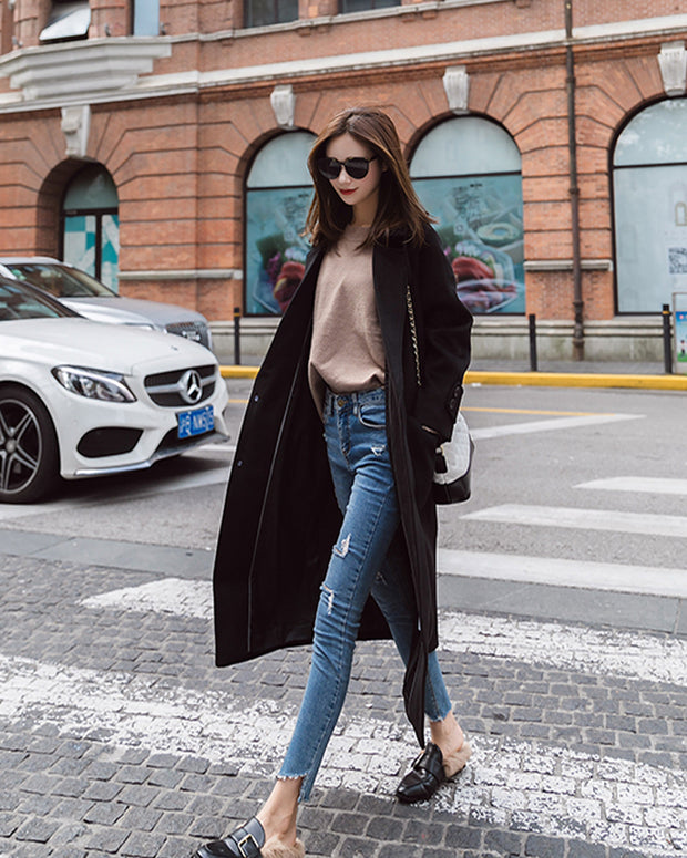 Women Street Style Long Woolen Coat for Autumn and Winter