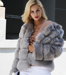 New faux furry slim mink jacket short faux fur fur coat female