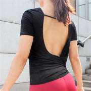Short Sleeve Breathable Backless Yoga Top