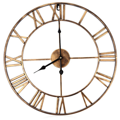 18.5 Inch Oversized 3D Iron Decorative Wall Clock Retro Roman Numerals Design